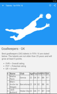 FIFA 16 Talents app screenshot